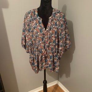 Kenar Flowy BOHO floral top w/tie waist, Sz Large